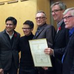 Yasir Naqvi, Catherine McKenney, Jay Koornstra, Jim Watson, René Rivard, with Jay's retirement certificate from the City of Ottawa